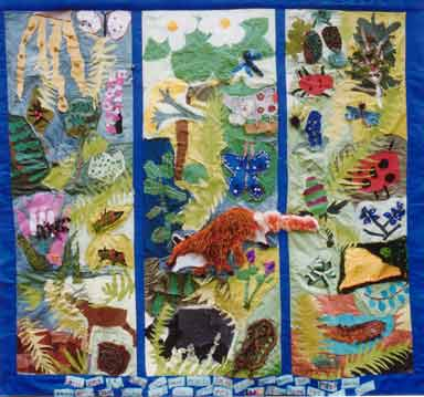 photograph of fabric wall hanging by year 5 children